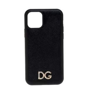 Dolce & Gabbana Black Leather Crystal Logo iPhone 12 Case