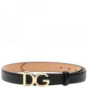 Dolce & Gabbana Black DG Logo Buckle Belt Size CM 80