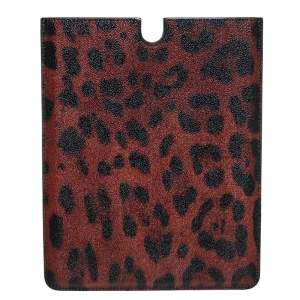Dolce & Gabbana Black/Brown Leopard Print Coated Canvas iPad 2 Case