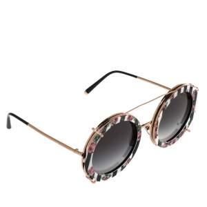 Dolce & Gabbana Rose Gold/Floral Print DG 2198 Round Gradient Sunglasses