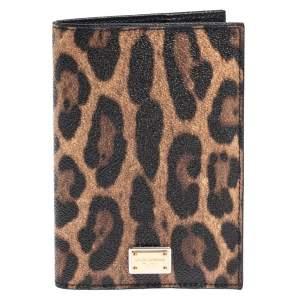 Dolce & Gabbana Brown/Black Animal Print Coated Canvas Passport Holder