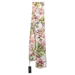 Dolce & Gabbana White Floral Printed Modal & Linen Scarf