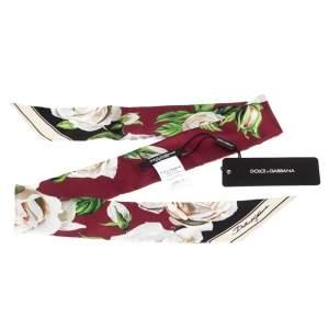 Dolce & Gabbana Burgundy Floral Printed Silk Twilly