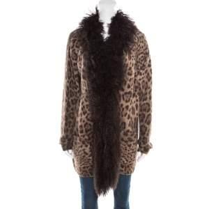 Dolce & Gabbana Brown Wool and Mohair Animal Printed Lamb Fur Trim Detail Jacket M