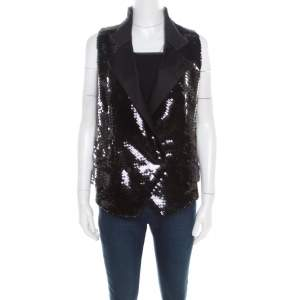 Dolce & Gabbana Black Sequined Double Breasted Vest M