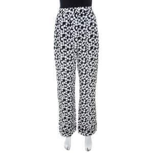 Dolce & Gabbana Monochrome Polka Dot Print Silk Straight Fit Trousers M