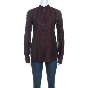 Dolce & Gabbana Plum Cotton Two Toned Button Front Shirt S