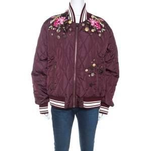 Dolce & Gabbana Hortensia Burgundy Nylon Embellished Bomber Jacket M