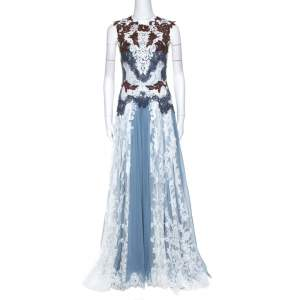 Dolce & Gabbana Powder Blue Silk and Lace Paneled Sleeveless Gown S