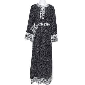 Dolce & Gabbana Monochrome Polka Dot Silk Belted Maxi Dress M