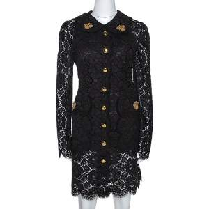 Dolce & Gabbana Black Floral Lace Bee Appliqued Shift Dress L
