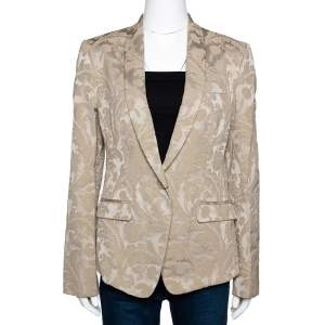 Dolce & Gabbana Beige Cotton Blend Jacquard Jacket M