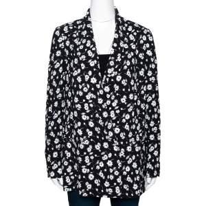 Dolce & Gabbana Monochrome Daisy Print Crepe Tailored Blazer M