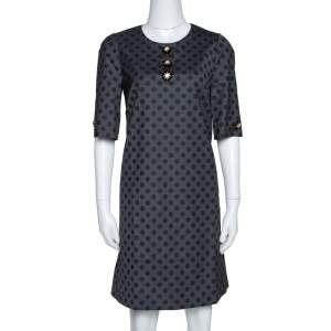 Dolce & Gabbana Grey Polka Dotted Wool Embellished Shift Dress M