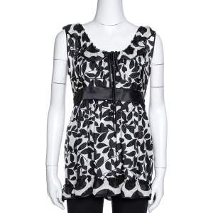 Dolce & Gabbana Monochrome Leaf Print Silk Ruffled Top M