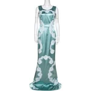 Dolce & Gabbana Light Blue Satin Lace Trim Gown L