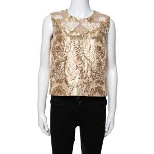 Dolce & Gabbana Gold Floral Brocade Lace Trim Blouse M