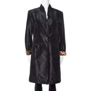 Dolce & Gabbana Black Silk Taffeta One Buttoned Coat L