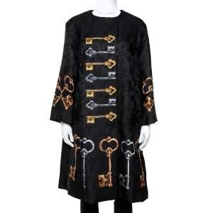 Dolce & Gabbana Black Key Printed Jacquard Coat M