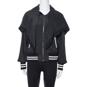 Dolce & Gabbana Black Polka Dot Silk Detachable Cape Overlay Bomber Jacket S
