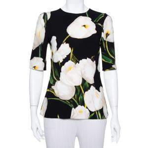 Dolce & Gabbana  Black Floral Printed Crepe Three Quarter Sleeve Top S