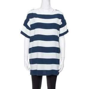 Dolce & Gabbana Blue/White Striped Crepe Top M
