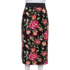 Dolce & Gabbana Black Floral Print Cady Pencil Skirt M