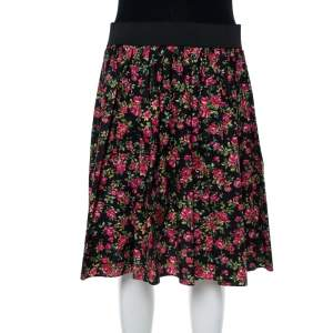 Dolce & Gabbana Black Floral Printed Cotton Flared Skirt M