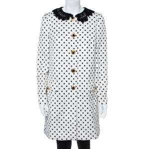 Dolce & Gabbana White/Black Lace Collar Polka Dot Printed Jacquard Coat M