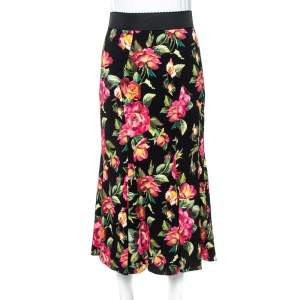 Dolce & Gabbana Black Floral Printed Cotton Flared Skirt S