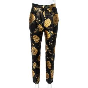 Dolce & Gabbana Black/Gold Floral Jacquard Straight Leg Trousers S