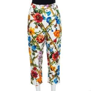 Dolce & Gabbana Floral Print Cotton Jacquard Cropped Pants L