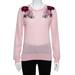 Dolce & Gabbana Pink Rose Applique Cashmere Pullover L