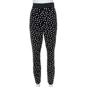 Dolce & Gabbana Monochrome Polka Dot Crepe Leggings M