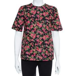 Dolce & Gabbana Black Floral Print Cotton Top Size S
