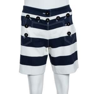 Dolce & Gabbana Blue/White Cotton Blend Stripe Short XS
