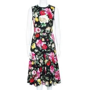 Dolce & Gabbana Black Stretch Cotton Floral Print Flared Dress M