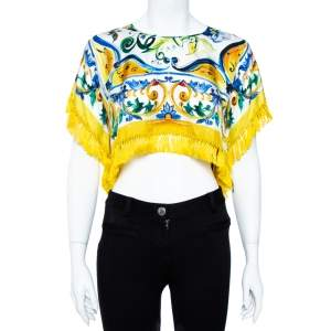 Dolce & Gabbana Yellow Majolica Print Silk Fringed Crop Top S