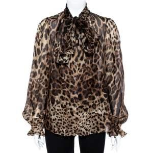 Dolce & Gabbana Brown Animal Print Silk Top S