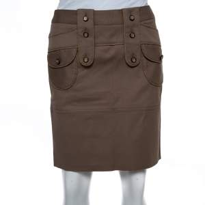 Dolce & Gabbana Brown Cotton Button Detail Mini Skirt S