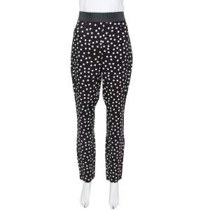 Dolce & Gabbana Monochrome Polka Dotted Crepe Trousers L