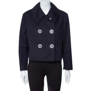 Dolce & Gabbana Navy Blue Cotton Double Breasted Cropped Jacket L