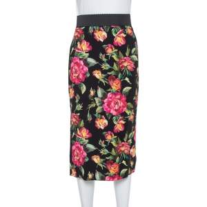 Dolce & Gabbana Black Floral Print Cady Pencil Skirt S
