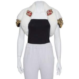 Dolce & Gabbana White Fur Stone & Sequin Embellished Open Front Crop Jacket S