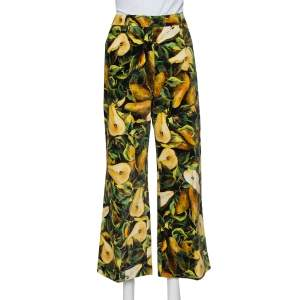Dolce & Gabbana Multicolor Floral Printed Velvet Cropped pants L