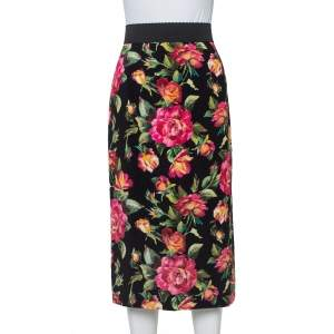 Dolce & Gabbana Black Crepe Floral Printed Pencil Skirt M