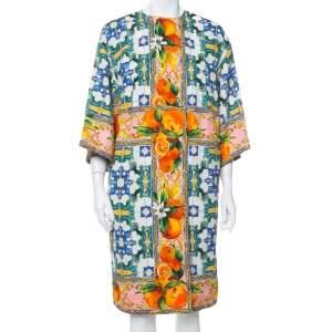 معطف دولتشي أند غابانا خفيف الوزن صدرية مزدوجة قطن مزخرف مطبوع ماجوليكا متعدد الألوان مقاس كبير (لارج)