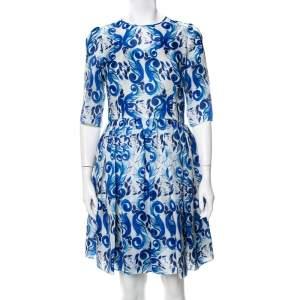 فستان ميني دولتشي أند غابانا حرير ماجوليس أبيض مقاس متوسط - ميديوم