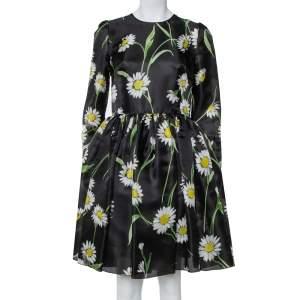 فستان دولتشي أند غابانا واسع حرير مطبوع زهرة دوار الشمس أسود مقاس وسط (ميديوم)