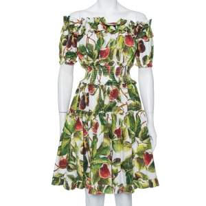 Dolce & Gabbana Green Fig Printed Cotton Off Shoulder Tiered Mini Dress M